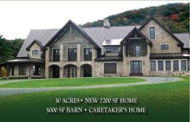 Woodstock, VT-Absolute Auction - 30 Acres- 7200 SF Home- 11/15/08